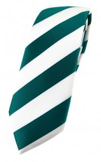 TigerTie - schmale Designer Krawatte in petrol weiss gestreift