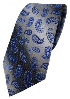 TigerTie Designer Krawatte in marine royal blau silber Paisley gemustert