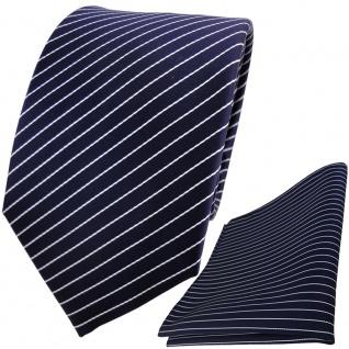 TigerTie Designer Krawatte + Einstecktuch in blau dunkelblau silber gestreift