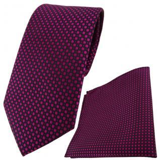 TigerTie Designer Krawatte + Einstecktuch lila violett purpur schwarz gepunktet