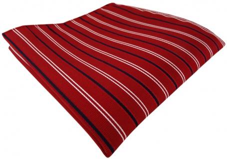 TigerTie Seideneinstecktuch rot dunkelblau marine silber gestreift - 100% Seide