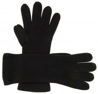 feine Strickhandschuhe in schwarz Stich braun Uni - Damen Handschuhe Größe M