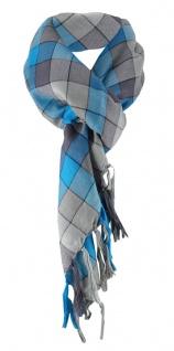 Halstuch in türkis grau schwarz kariert mit Fransen - Halstüchgröße 90 x 90 cm