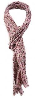 gecrashter TigerTie Schal in rosa bordeaux beige weiß geblümt - Gr. 180 x 50 cm