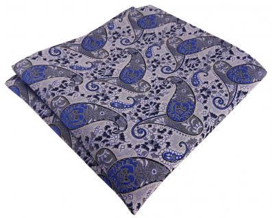 TigerTie Designer Einstecktuch in blau marine royal silbergrau Paisley gemustert