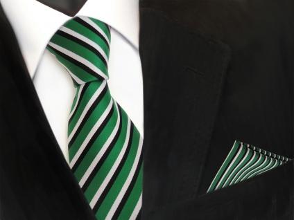 TigerTie Krawatte + Einstecktuch in grün signalgrün weiss schwarz gestreift