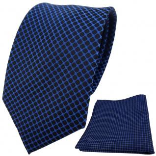 schöne Designer TigerTie Krawatte + Einstecktuch dunkelblau schwarz gemustert