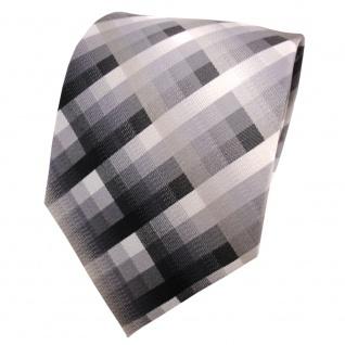 TigerTie Seidenkrawatte grau hellgrau silber anthrazit kariert - Krawatte Seide
