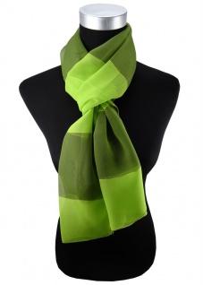 Damen Chiffon Halstuch grün hellgrün gestreift Gr. 165 cm x 40 cm - Tuch Schal