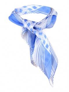 Nickituch Chiffon blau weissgrau mit Karomuster - Gr. 50 x 50 cm - Tuch Halstuch