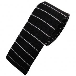 Schmale Strickkrawatte schwarz weiß silber gestreift - Krawatte Polyester Tie