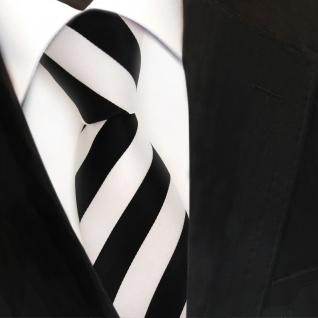 TigerTie Designer Krawatte - Schlips Binder schwarz weiss gestreift - Tie - Vorschau 3