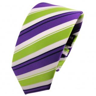 Schmale TigerTie Krawatte lila grün weiss schwarz gestreift - Schlips Binder