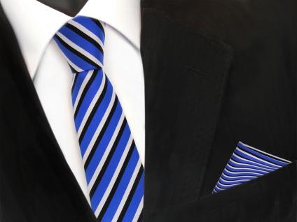 schmale TigerTie Krawatte + Einstecktuch blau ultramarin weiss schwarz gestreift