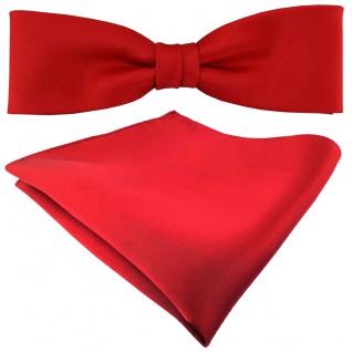 schmale TigerTie Fliege + Einstecktuch in rot einfarbig + Box