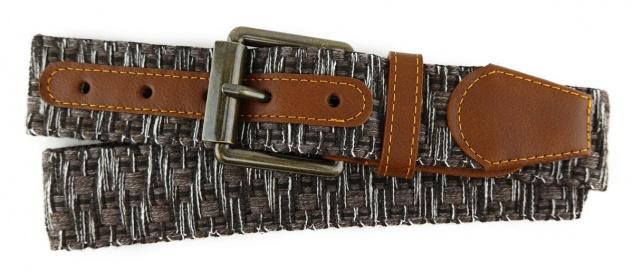 TigerTie - Stoffgürtel in braun dunkelbraun weiss gemustert - Bundweite 110 cm