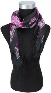 Halstuch in magenta rosa grau schwarz anthrazit geblümt mit Fransen - 90 x 90 cm