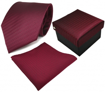 3er Set TigerTie Krawatte + Einstecktuch + Geschenkbox in rot schwarz gestreift