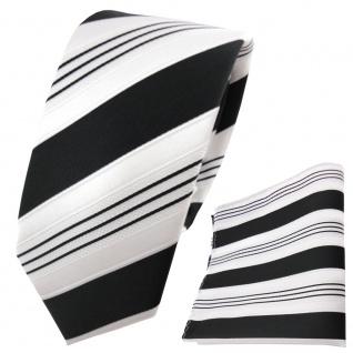 schmale TigerTie Krawatte + Einstecktuch schwarz anthrazit weiß silber gestreift