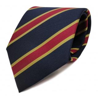 TigerTie Krawatte blau royal dunkelblau rot gold gestreift - Schlips Binder Tie