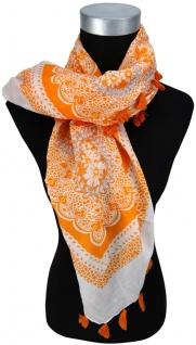 Halstuch orange grau weiss gemustert mit Tusseln an den Ecken - Gr. 100 x 100 cm