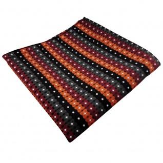 TigerTie Einstecktuch orange schwarz anthrazit silber gestreift - 100% Polyester