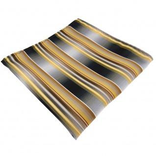 TigerTie Einstecktuch gold gelb silber anthrazit grau gestreift - Tuch Polyester