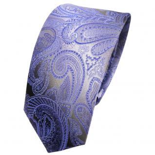 Schmale TigerTie Seidenkrawatte blau hellblau anthrazit grau Paisley - Krawatte