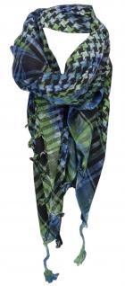 Halstuch in grün blau grau schwarz gemustert mit Fransen -Gr. 100 x 100 cm