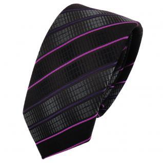 Schmale TigerTie Krawatte schwarz anthrazit magenta lila gestreift - Binder Tie