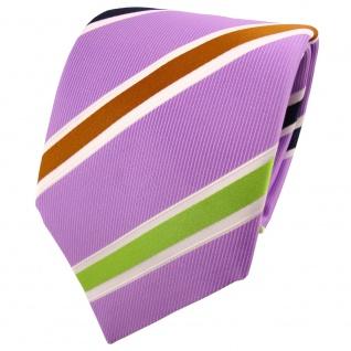TigerTie Krawatte lila flieder grün dunkelblau braun creme gestreift - Binder