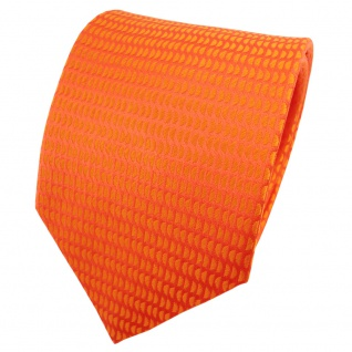 TigerTie Satin Seidenkrawatte orange reinorange gemustert - Krawatte Seide
