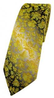 schmale TigerTie Designer Krawatte in gelb grausilber geblümt gemustert
