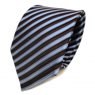 Designer Seidenkrawatte blau rot bordeaux silber gestreift - Krawatte Seide Tie - Vorschau 2