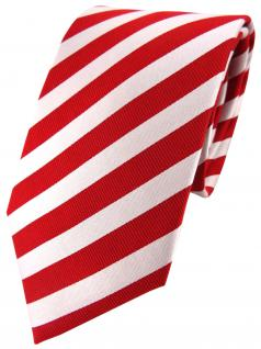 TigerTie Seidenkrawatte rot perlmutt weiss gestreift - Krawatte 100% Seide - Vorschau 1