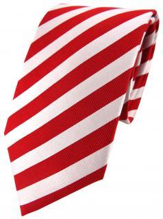 TigerTie Seidenkrawatte rot perlmutt weiss gestreift - Krawatte 100% Seide
