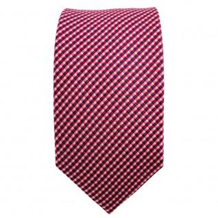 Schmale TigerTie Seidenkrawatte rot blau lachs silber gepunktet - Krawatte Seide - Vorschau 2