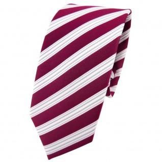 Schmale TigerTie Krawatte rot beere weinrot silber weiß gestreift - Tie Binder