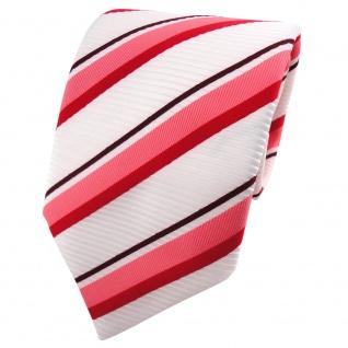 TigerTie Satin Krawatte weiß signalweiß rot rosé bordeaux gestreift - Binder Tie