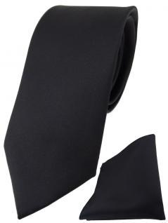 TigerTie Designer Krawatte + TigerTie Einstecktuch in schwarz einfarbig uni