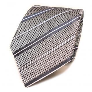 Schicke Seidenkrawatte silber grau schwarz weiss gestreift - Krawatte Seide Tie