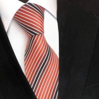 TigerTie Seidenkrawatte orange anthrazit weiß gestreift - Krawatte Seide - Vorschau 3