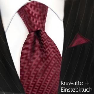 Set TigerTie Designer Krawatte + Einstecktuch in rot dunkelrot schwarz gestreift - Vorschau 2