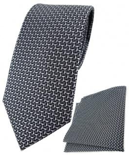 TigerTie Designer Krawatte + Einstecktuch in silber schwarz grau gemustert