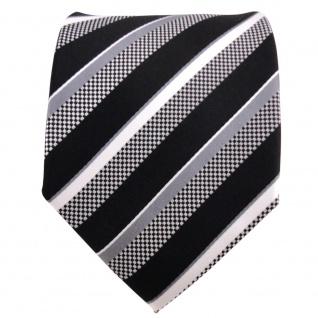 TigerTie Designer Seidenkrawatte schwarz grau silber weiß gestreift - Krawatte - Vorschau 2
