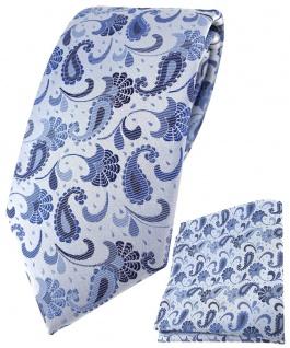 TigerTie Krawatte + Einstecktuch in blau silberblau silber Paisley gemustert