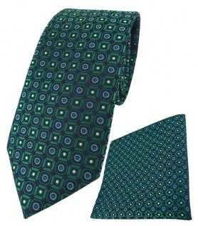 TigerTie Krawatte + Einstecktuch in grün blau silber schwarz gemustert