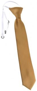 TigerTie Kinderkrawatte in gold einfarbig - Krawatte vorgebunden mit Gummizug