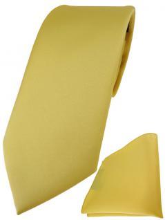 TigerTie Designer Krawatte + TigerTie Einstecktuch in gelbgold einfarbig uni