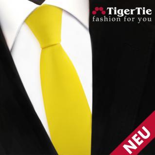 schmale TigerTie Satin Krawatte gelb leuchtgelb knallgelb Uni - Schlips Binder
